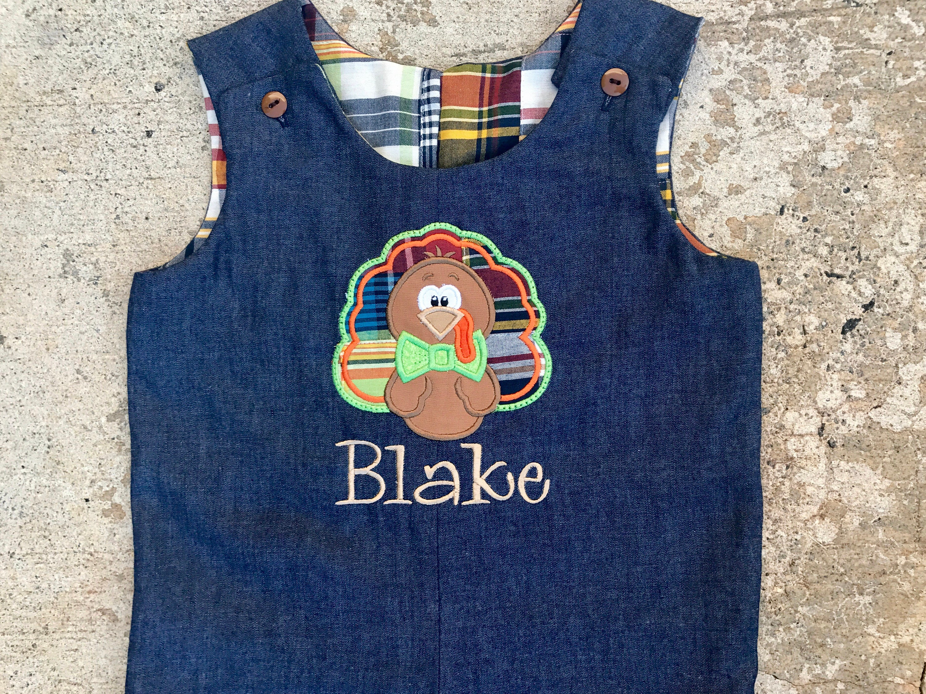 Vintage Overalls & Jumpsuits Boys Thanksgiving Outfit, Boys Denim Turkey Romper, Chambray Longall, Toddler Boy Fall Clothes, Baby Overalls $65.00 AT vintagedancer.com