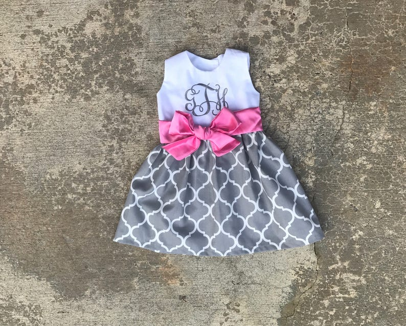 98f5f1a5269a Toddler easter dress pink and gray baby outfit little girls | Etsy