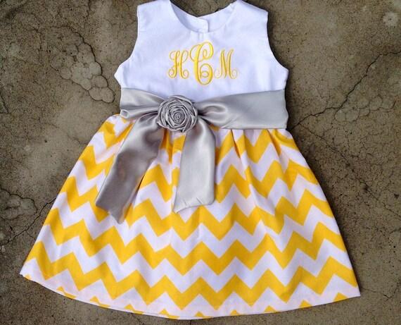 yellow chevron dress monogram baby dress monogram baby girl Baby girl outfit fall Easter dress girl fall dress