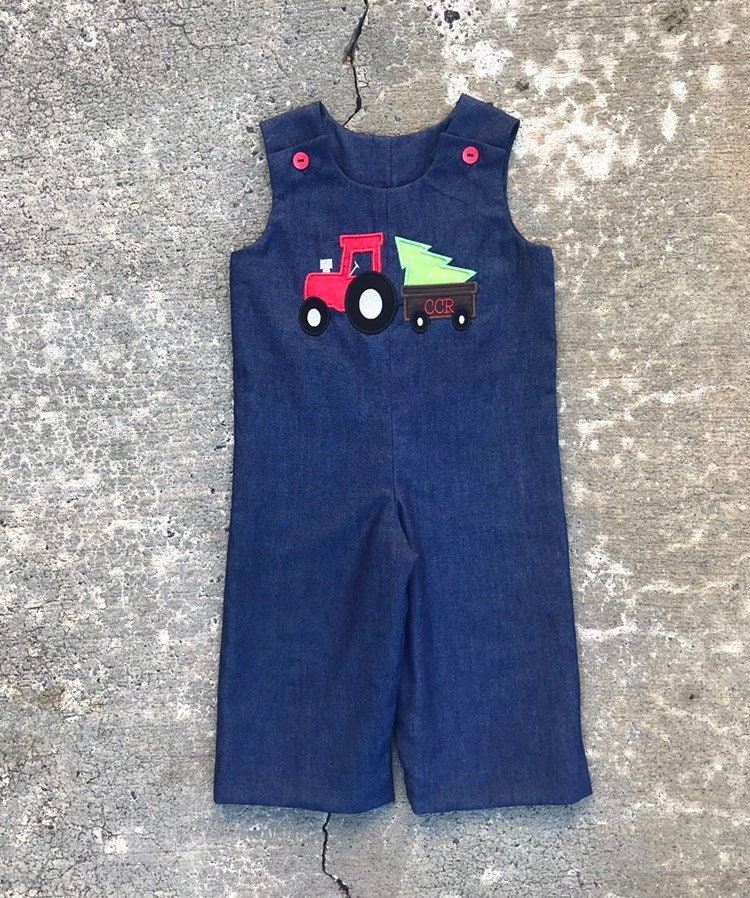 Vintage Overalls & Jumpsuits Baby Boy Christmas Outfit, Little Clothes, Boys Denim Overalls, Red Tractor Green Christmas Tree Monogram Outfit $59.00 AT vintagedancer.com