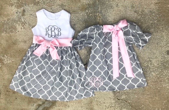 a0ba4113cbc39 Matching outfits, gray and pink dresses, family picture outfits, matching  sister dresses monogrammed baby girl clothes, easter dresses