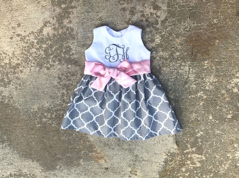 4d39c0f050da5 Gray and pink Easter dress, little girl Easter dresses, baby girl clothes,  toddler easter outfit, monogrammed Easter clothes, birthday dress