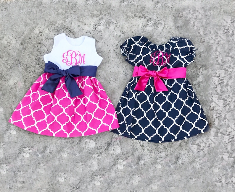 309b1ac5bed0 Matching sister dresses hot pink navy little girl dresses | Etsy