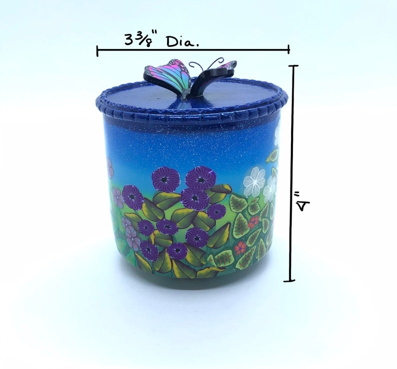 Flowers Leaves Floral Trinket Box with Lid Butterfly Decorative Gift Box OOAK Polymer Clay Jewelry Storage Holder