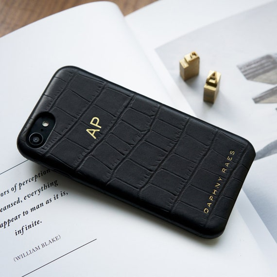 3ea6309db5 Vegetable tanned leather iPhone 7 case with croco print   FREE