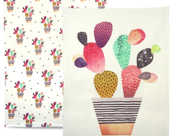 Happy Cactus - 100% cotton artistic tea towel set, dish towel, kitchen towel. Matching set of colourful printed tea towels