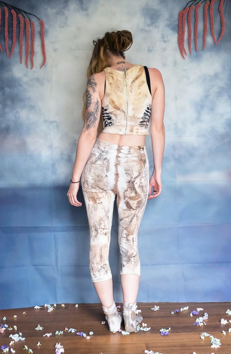 Eco Textile Upcycled Fashion Clothing Eucalypt Seed Eco Dyed Leggings Unisex Eco Friendly Streetwear. One Off Item