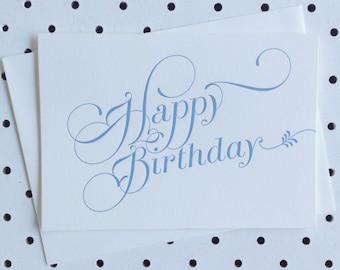 Letterpress Card 'Happy Birthday' - Blue
