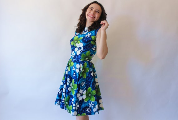 Vintage Dress 50s Hawaiian Floral