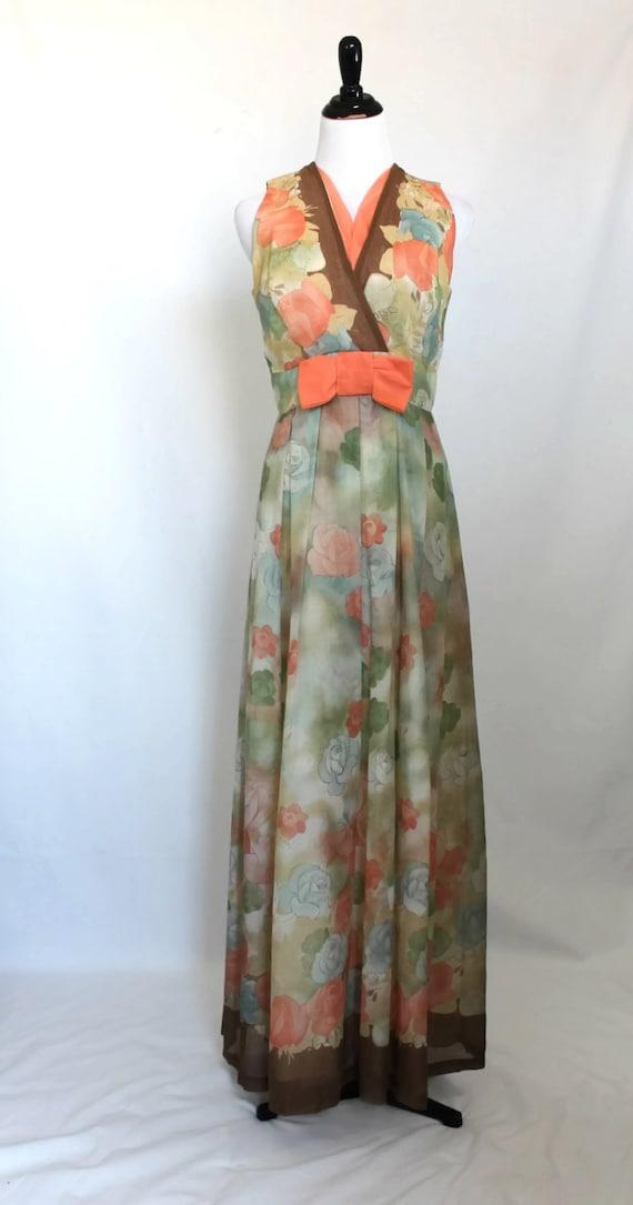 60s Dress / Floral Dress / Peach Dress / Long Dres