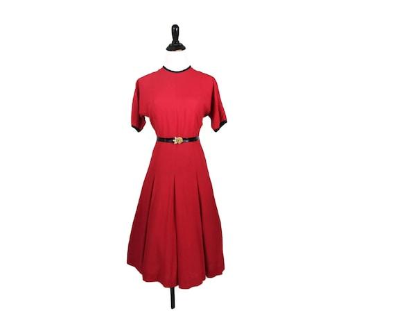 50s Dress / Red Dress / Party Dress / Metal Zipper