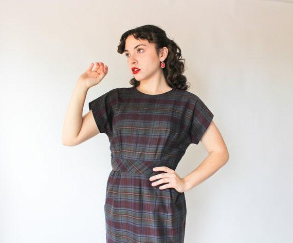 Vintage 50s Plaid Blue Purple Dress