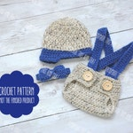 CROCHET PATTERN - Newsboy hat and diaper cover set pattern, photo prop pattern, crochet baby pattern, newborn photo outfit pattern