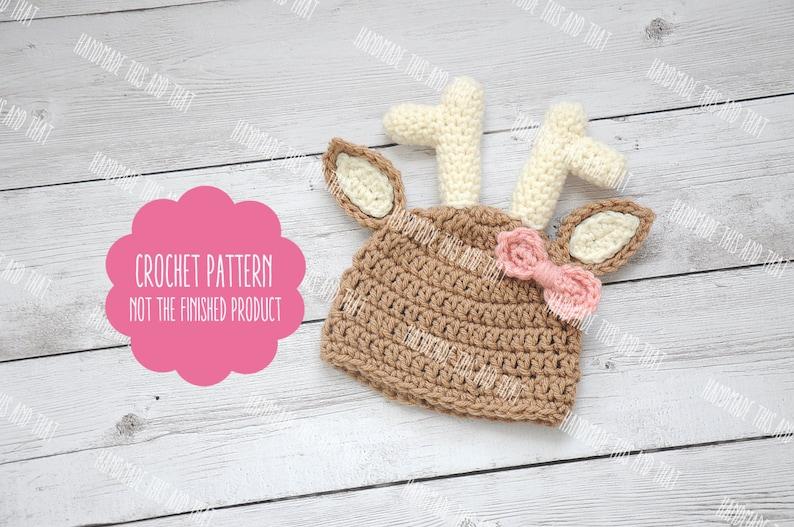 ccee9ec58 CROCHET PATTERN - Deer hat pattern, baby deer hat pattern, baby photo prop  pattern, crochet baby pattern, newborn deer hat