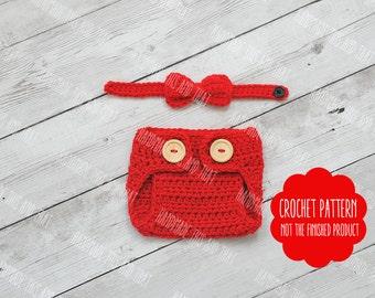 CROCHET PATTERN - Crochet diaper cover pattern, bow tie, crochet little mister pattern, crochet newborn pattern, newborn photo prop pattern