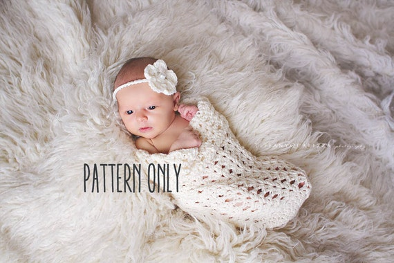 CROCHET PATTERN Baby cocoon and headband crochet pattern  f4cfca707ab