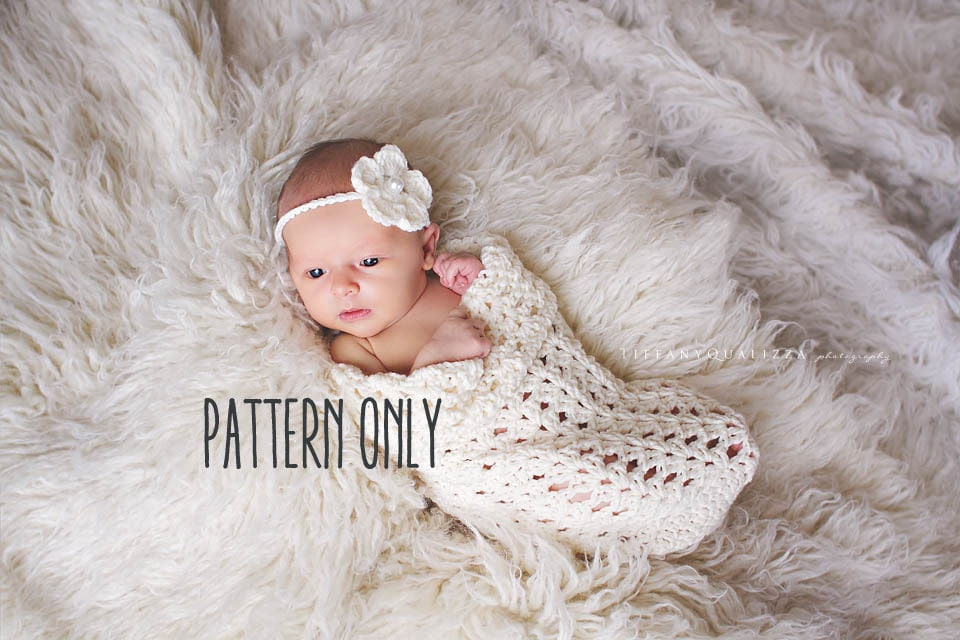 Crochet Pattern Baby Cocoon And Headband Crochet Pattern Etsy