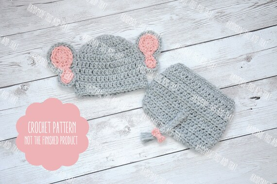 Crochet Pattern Baby Elephant Hat And Diaper Cover Set Etsy