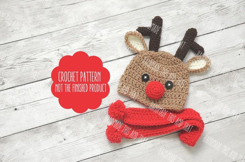 CROCHET PATTERN Newborn reindeer hat baby reindeer hat  4d1fe6f62ff