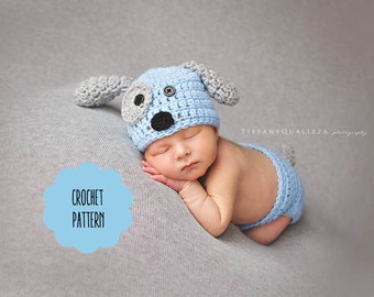 CROCHET PATTERN - Newborn puppy dog hat and diaper cover pattern, crochet puppy hat, newborn photo prop set pattern