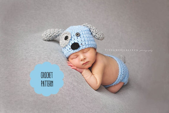 Crochet Pattern Newborn Puppy Dog Hat And Diaper Cover Etsy