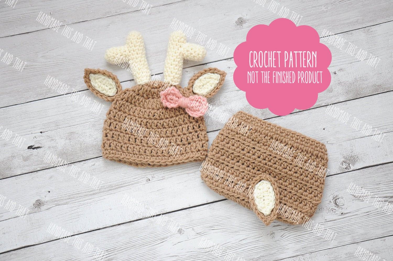 Crochet Pattern Newborn Deer Hat And Diaper Cover Newborn Etsy