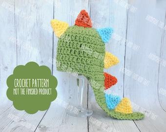 CROCHET PATTERN - Newborn dinosaur hat pattern, dinosaur photo prop pattern, crochet baby pattern, dinosaur hat