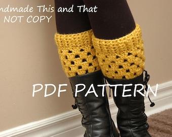 INSTANT DOWNLOAD - Womens boot socks PATTERN - crochet boot cuff pattern - boot toppers, leg wamers pattern
