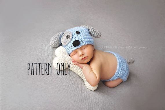 Crochet Pattern Newborn Puppy Hat And Diaper Cover And Bone Etsy