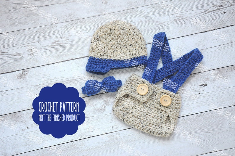 CROCHET PATTERN  Newsboy hat and diaper cover set pattern image 0