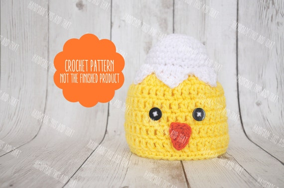 Crochet Pattern Crochet Chick Hat Newborn Chick Hat Easter Etsy