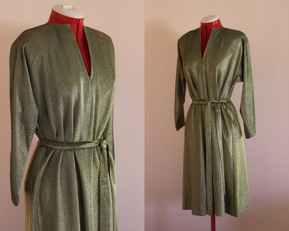 Halston Gold Lame Dress    Flexible Size    1970s