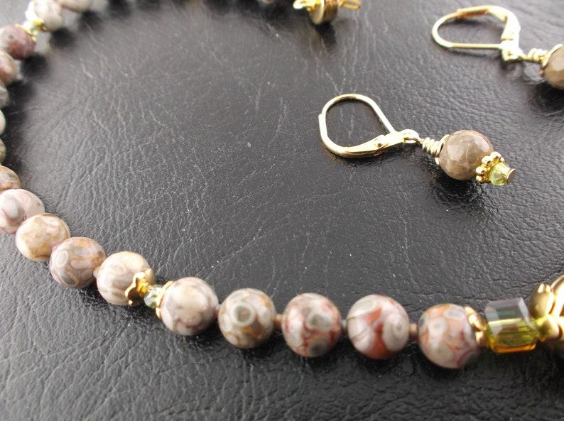 Natural Orbicular jasper with orange gemstone pendant Orbicular jasper gemstone crystal magnetic clasp necklace /& earring set