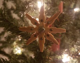 Medium 3pk Steampunk Clothespin Snowflakes Espresso 4 Diameter
