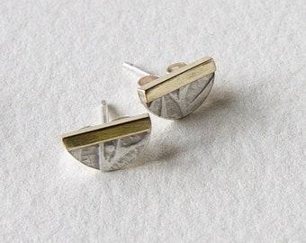 mixed metal ear studs
