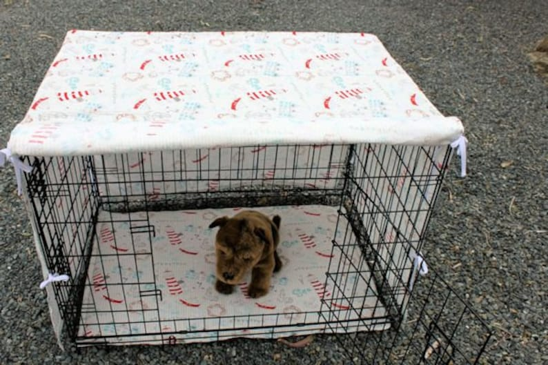 Dog crate cover and pad set . pet crate mat . pet crate cover. image 0