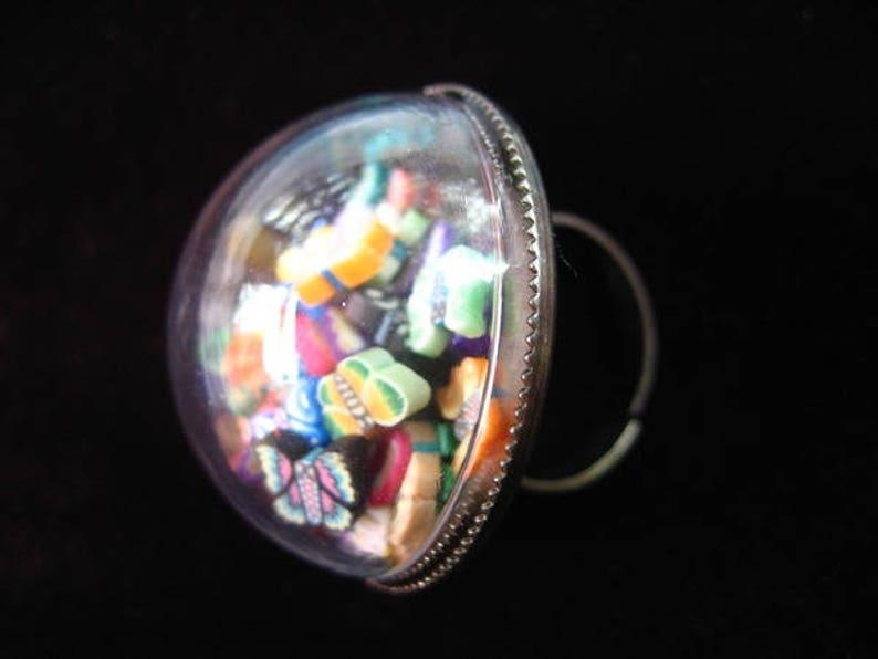 set in resin 30mm diameter BYURE multicolored butterflies mobile for women in a plexi sphere