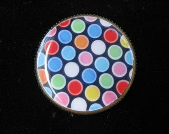 RING with multicolor polka dots
