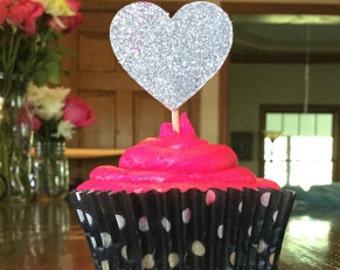Silver Glitter Cupcake Toppers - Glitter Hearts - 25th Wedding Anniversary - Wedding Cupcake Toppers - Party Food Appetizer Picks