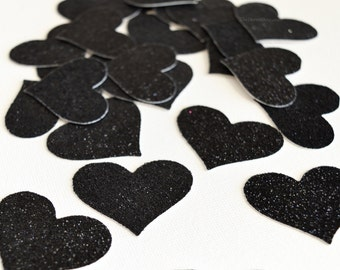 Cute Black Opaque Heart with Glitter Cover Minder