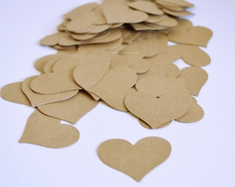 Heart Confetti - Kraft Paper Hearts - Rustic Wedding Decor - Paper Confetti Hearts - Curvy Hearts - Table Scatter - Party Confetti 100 Pc