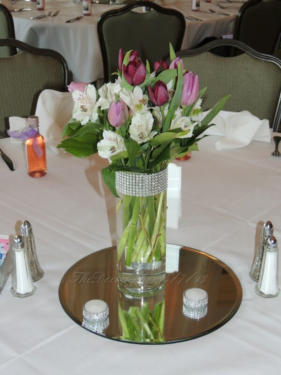 Glass Cylinder Vases Bling Wedding Centerpieces Silver Etsy