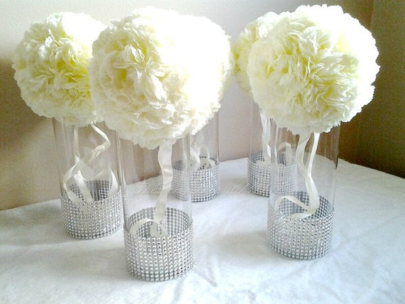 Centerpiece Cylinder Vases Silver Bling Vases Wedding Etsy