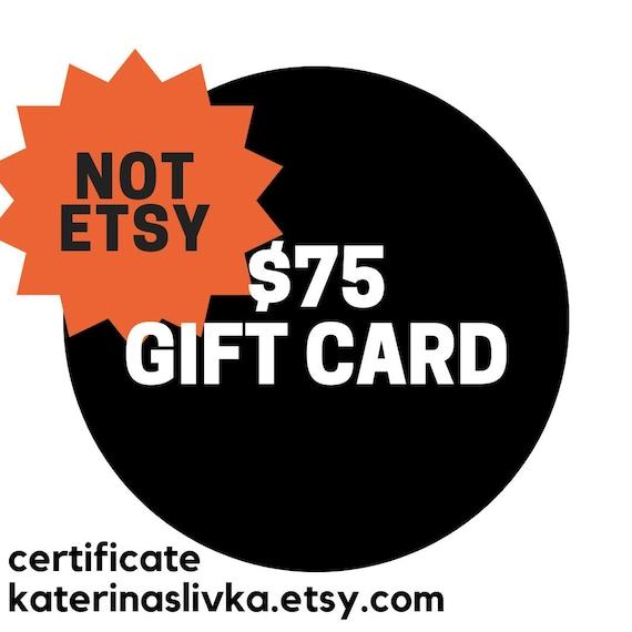 Email Gift Card 75 USD, Gift Certificate, Last Minute Birthday Gift, Buy  prepaid gift card Voucher Secret Admirer Fundraiser Item