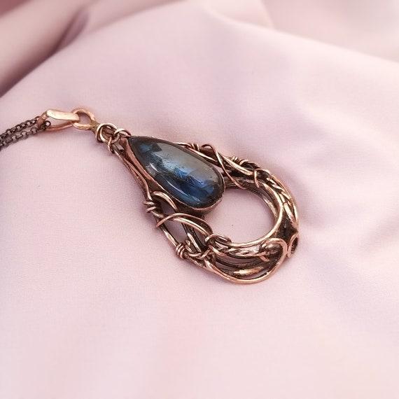 Deep Blue Labradorite Copper Wire Wrapped Gemstone Pendant Necklace