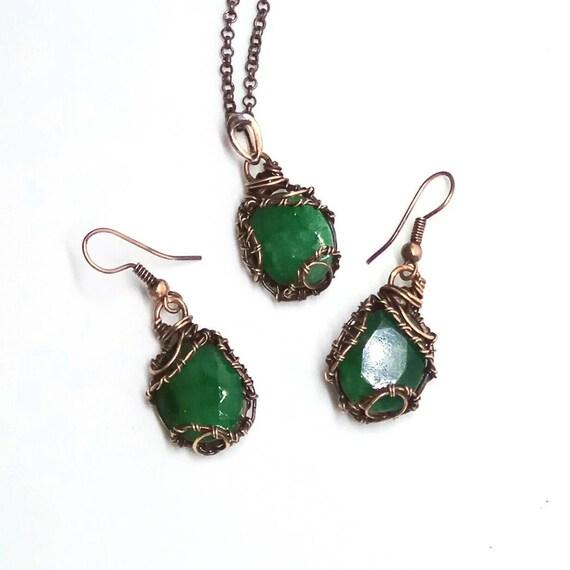 Smaragd Schmuck-set kann Birthstone Kupfer Smaragd Set Draht | Etsy