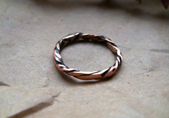 Gifts for Her Copper Ring Boho Style Wrapped Copper Ring Recycled Jewellery Hammered Wire Ring Rustic Jewellery