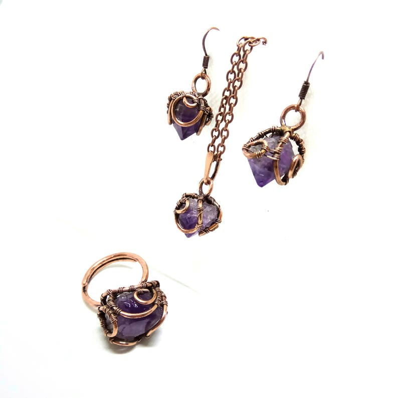 7c85d76d04da5 Natural raw stone amethyst jewelry set Copper wire wrap amethyst set  Earrings amethyst Bridal jewelry set Amethyst pendant Amethyst necklace
