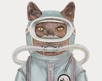 Scuba Cat Art Print, Retro Print, Scuba Diver, Retro Illustration