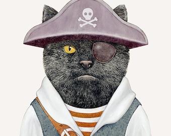 Pirate cat, Art Print, Pirate Wall Art, Pirate Poster